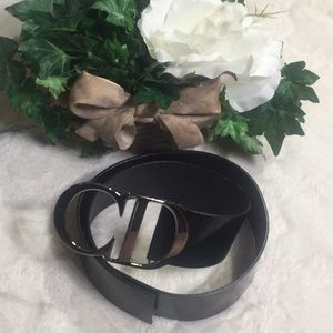 "GUC Christian Dior ""CD"" Monogram Blk Leather Belt"